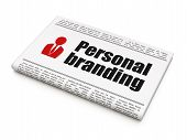 Advertising news concept: newspaper with Personal Branding and B poster