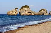 stock photo of zorro  - Rocks on the beach Porto Zorro The island of Zakynthos