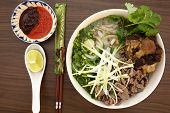 pic of rice noodles  - Vietnamese rice noodles are served with beef - JPG