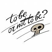 stock photo of hamlet  - To be or not to be question Hamlet Shakespeare skull - JPG