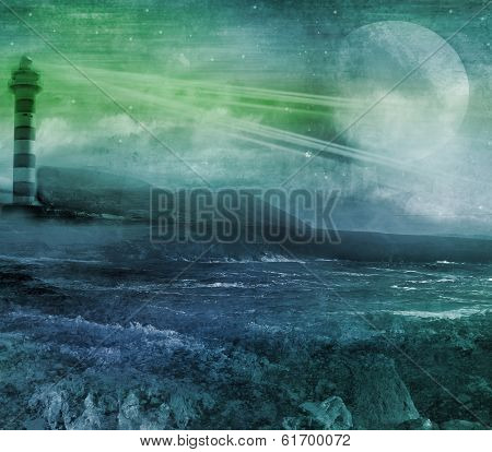 Old Lighthouse On A Rock Island, Grunge Abstract Landscape With Moon