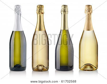 Set of champagne bottles. isolated on white background