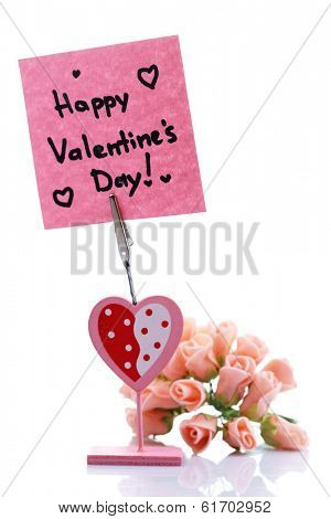 Message holder with sign on note paper isolated on white