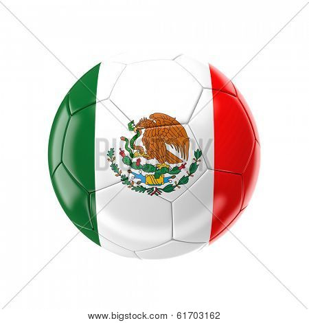 3d soccer ball with mexico flag