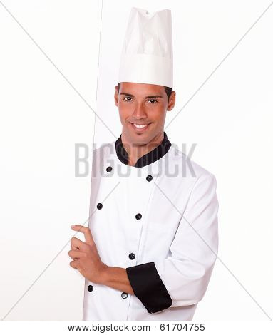 Professional Chef Holding A Blank Placard