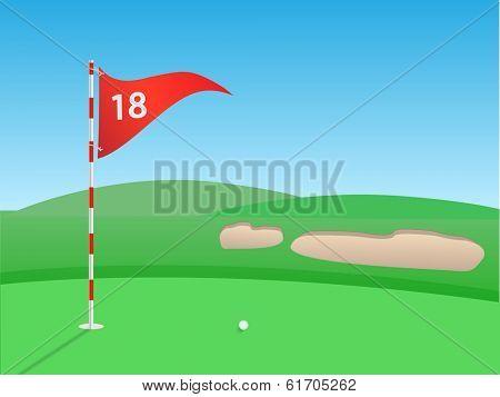 Golf outdoor scene illustration. (EPS vector version also available in portfolio)