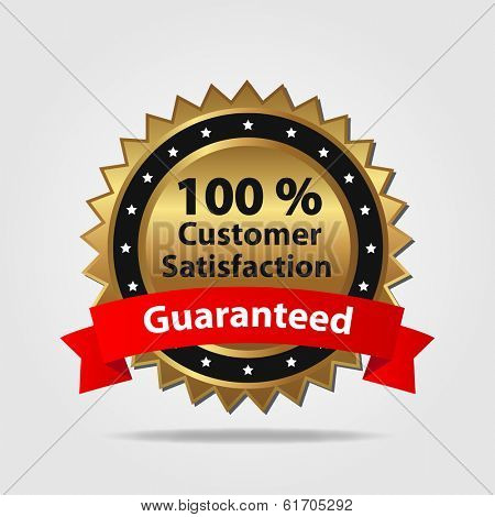 Red and Gold Customer Satisfaction Badge. (EPS vector version also available in portfolio)