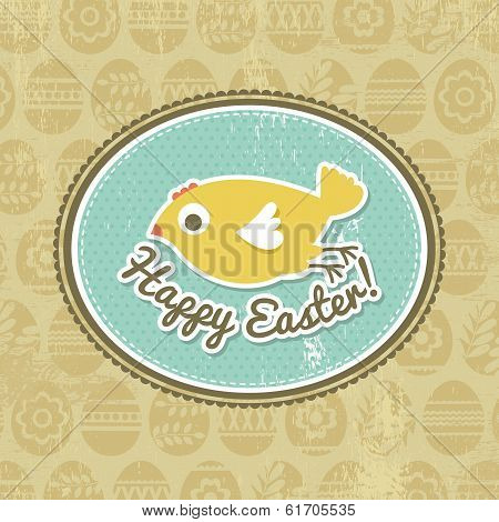 Background With Easter Eggs And One Chick, Vector