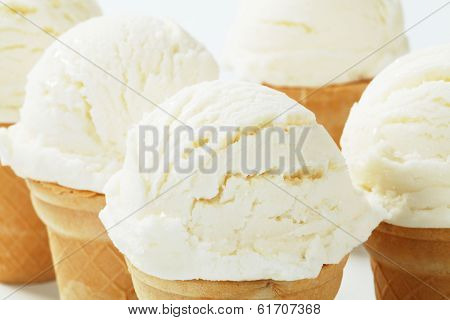 Detail of light ice cream in a cone