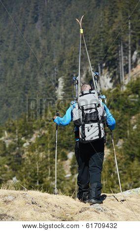 Tourist trekking in the mountains