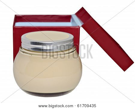 Jar Of Lotion On White