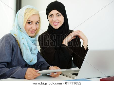 Arabic business people working in office
