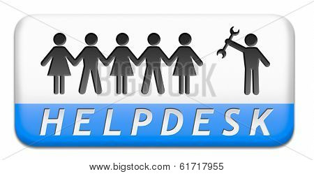 online helpdesk support desk or help desk button technical assitance and customer service