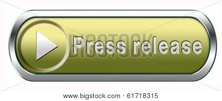 press release wtih breaking hot and latest news items button or icon