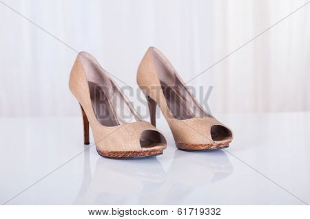High Heeled Beige Shoes