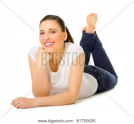 Young woman laying on the floor isolated