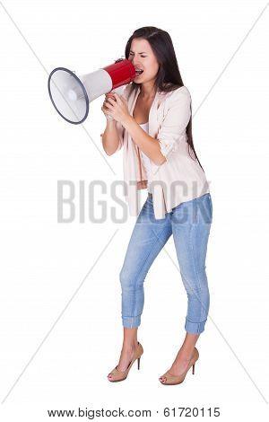 Woman Shouting Into A Loud Hailer