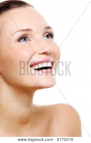 Happy Woman Portrait With A White Healthy Teeth