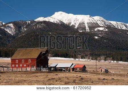 Red Barn Endures Mountain Winter Wallowa Whitman National Forest