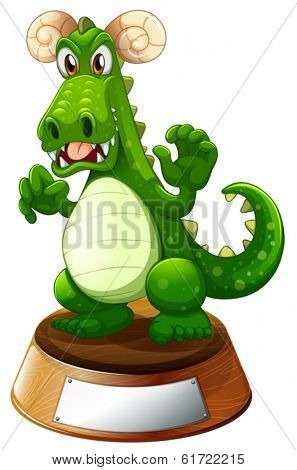 Illustration of an angry green dragon on a white background