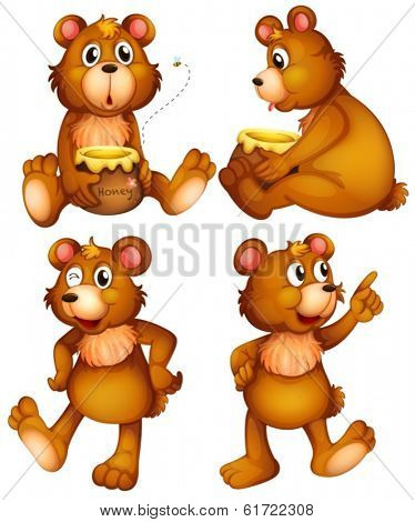 Illustration of the four brown bears on a white background