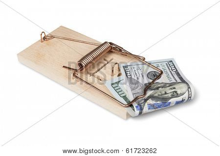 Risk of investment. Mouse trap with dollar bills isolated over white with clipping path.