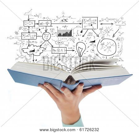 education and book concept - close up of female hand holding open blue book with big plan