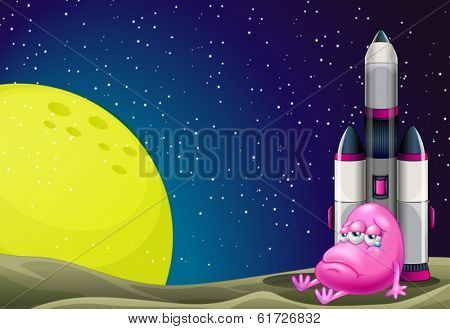 Illustration of a sad monster beside the rocket in the outerspace