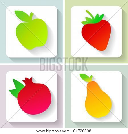 Flat design fruit icons. Set of fruit. Vector illustration.