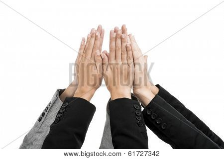Sucess concept with hands on air isolated over a white background