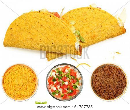 Two Tacos Stacked on White Background with cheese and lettuce. Bowl of cheese, trinity  and meat below.