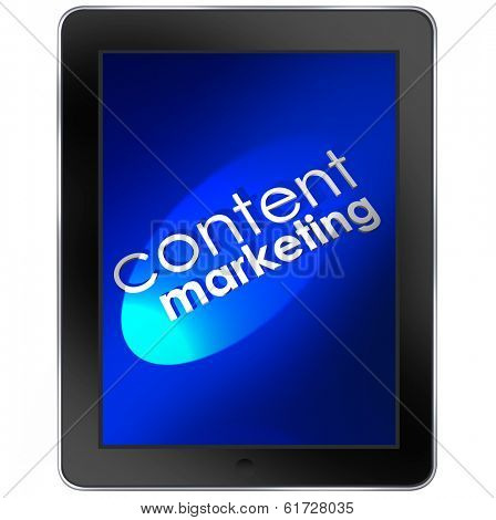 Content Marketing Words Tablet Computer Mobile Customer Outreach