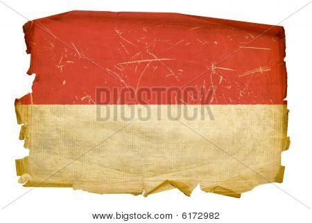 Monaco Flag Old, Isolated On White Background