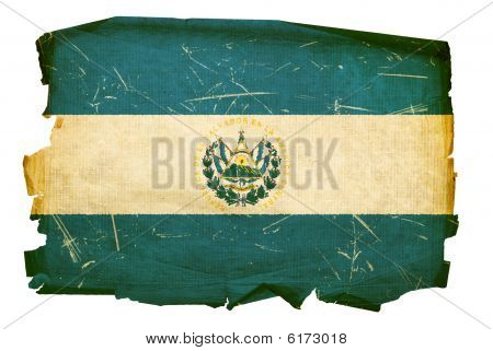 El Salvador Flag Old, Isolated On White Background.