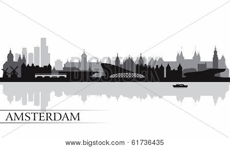 Amsterdam City Skyline Silhouette Background