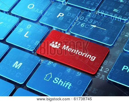 Education concept: Business People and Mentoring on computer keyboard background