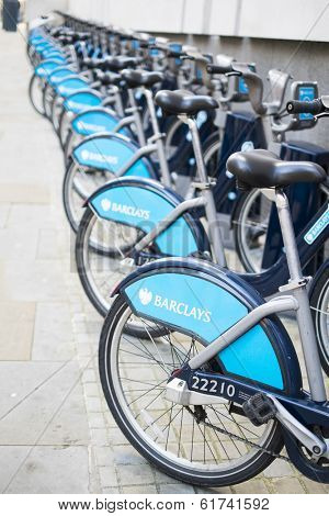 LONDON, UK - MARCH 01: Detail of bicycles for hire in central London. The popular scheme was implemented in 2010. March 01, 2014 in London.