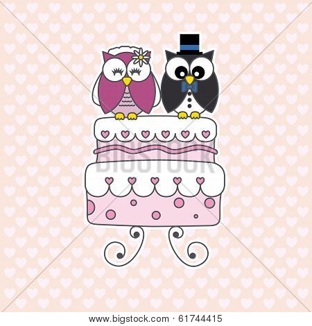 Owls in love. wedding card