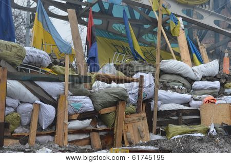 KIEV, UKRAINE - FEB 10, 2014: Downtown of Kiev.Barricades. Riot in Kiev and Western Ukraine.February 10, 2014 Kiev, Ukraine