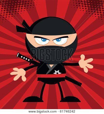 Angry Ninja Warrior Character Flat Design Over Red Background