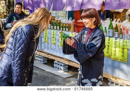 Sake Stall at Kinkakuji Templein Kyoto