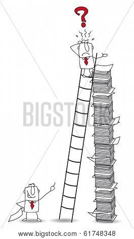 Joe the businessman climbs a ladder. He has lost an important document