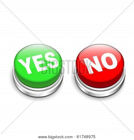 3D Illustration Of Yes And No Buttons
