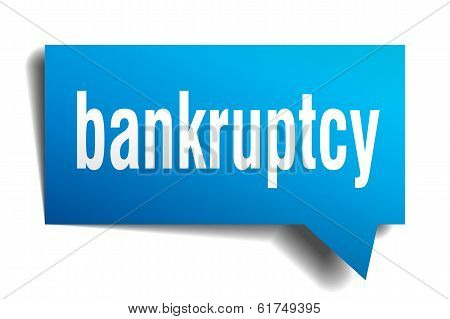 Bankruptcy Blue 3D Realistic Paper Speech Bubble Isolated On White