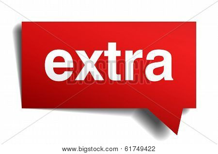 Extra Red 3D Realistic Paper Speech Bubble Isolated On White