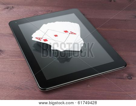 Deck Of Cards On Digital Tablet Pc, Concept Of Texas Poker Online