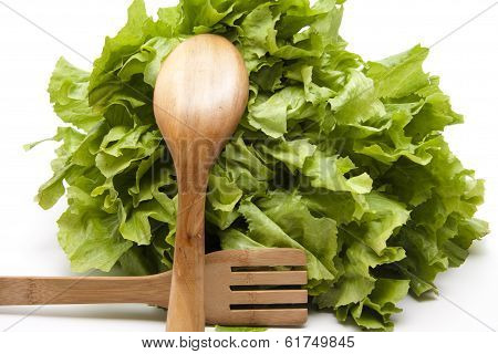 Endive salad with wooden cutlery