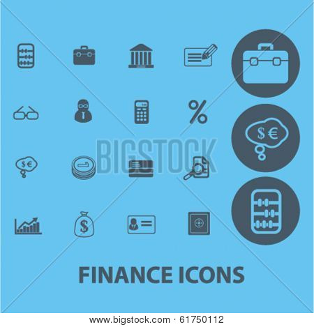 finance, money, economics, analytics icons, signs set, vector