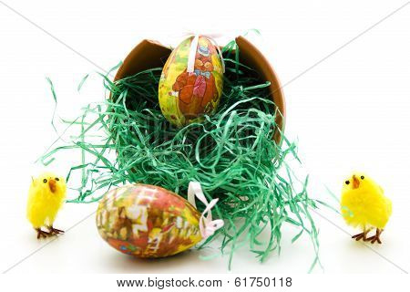 Easter eggs with Easter grass
