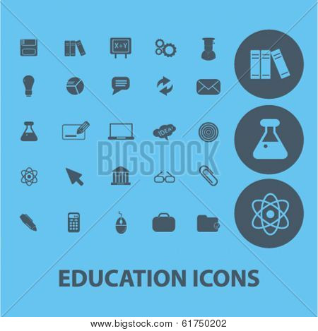 education, learning, study icons, signs set, vector